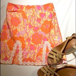 LILLY PULITZER Florals Skirt with Lace Size 0
